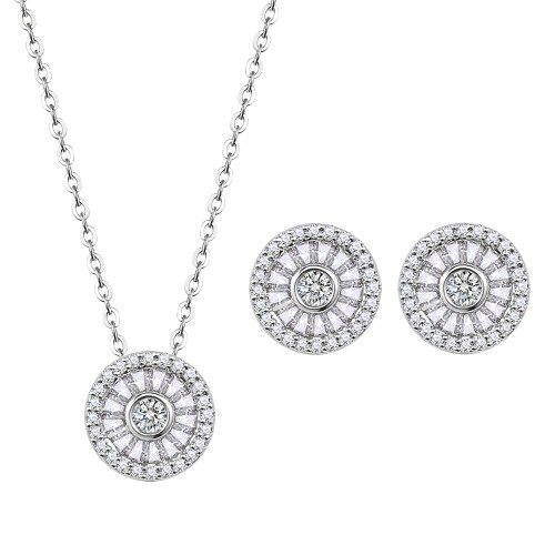 Rhodium Plated with Clear Cubic Zirconia Round Pendent Necklace Earring Set