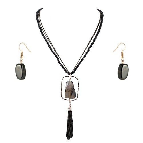 Gold Plated With Black Semi Precious Stone Pendant Statement Necklace & Earrings Set for Women