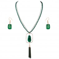 Gold Plated With Green Semi Precious Stone Pendant Statement Necklace & Earrings Set for Women