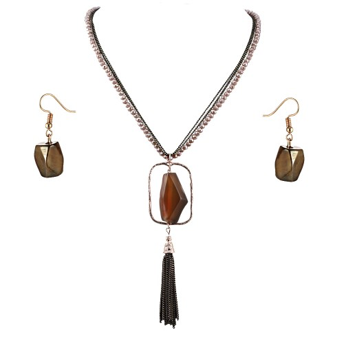 Gold Plated With Topaz Semi Precious Stone Pendant Statement Necklace & Earrings Set for Women