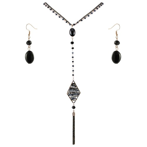 Gold Plated With Black Stone 26 inch Y Shaped Statement Necklace & Earrings Set Long Rhombus Pendant for Women