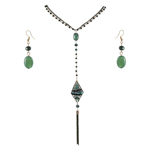 Gold Plated With Green Stone 26 inch Y Shaped Statement Necklace & Earrings Set Long Rhombus Pendant for Women