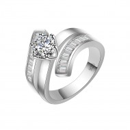 925 Sterling Silver Clear CZ Statement Ring