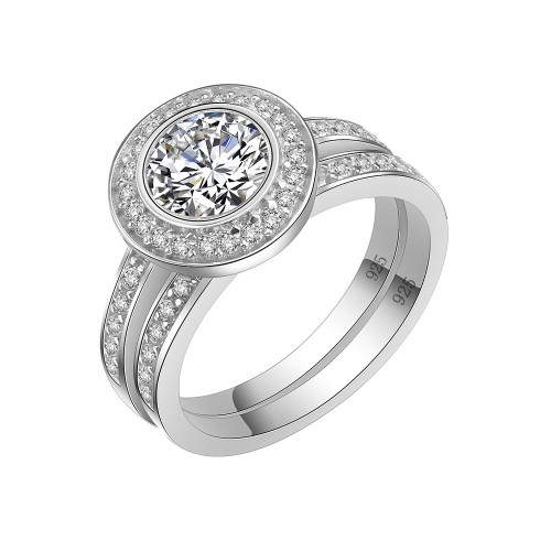 925 Sterling Silver Clear CZ Engagement Ring