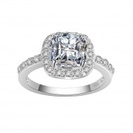 925 Sterling Silver with Square Clear CZ Statement Ring