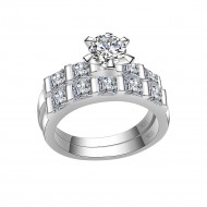925 Sterling Silver Clear CZ Wedding Engagement Ring
