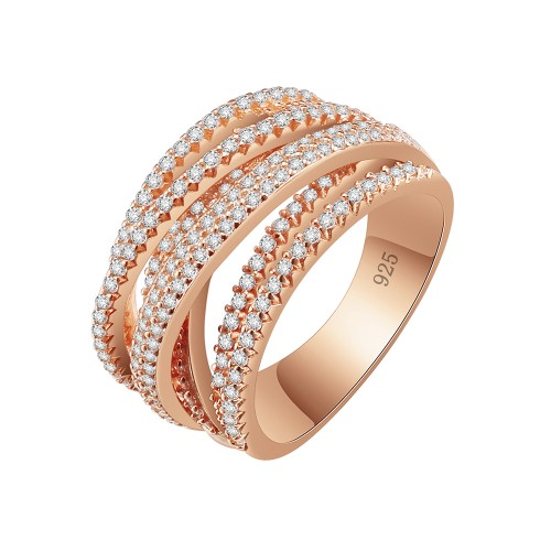 Rose Gold Plated 925 Sterling Silver CZ Interwined Crossover Statement Ring