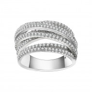 925 Sterling Silver CZ Interwined Crossover Statement Ring