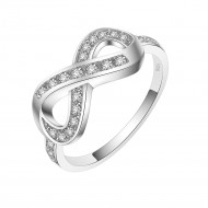 925 Sterling Silver Clear CZ Infinity Statement Ring