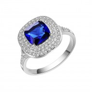 925 Sterling Silver with Square Blue CZ Statement Ring
