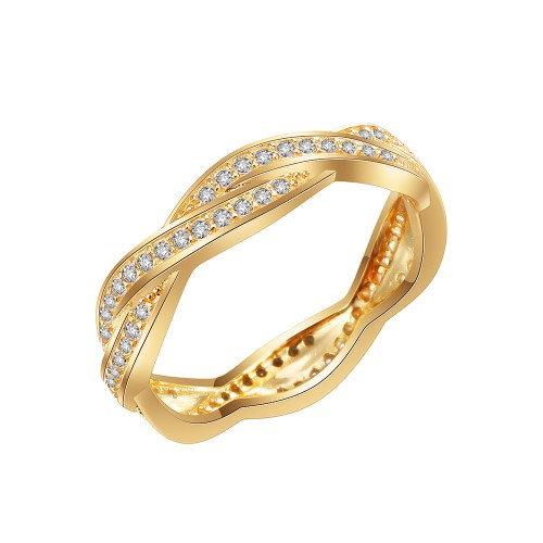 Gold Plated 925 Sterling Silver CZ Woven Statement Ring