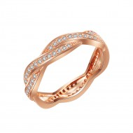 Rose Gold Plated 925 Sterling Silver CZ Woven Statement Ring