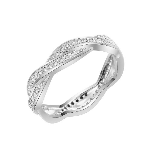 925 Sterling Silver CZ Woven Statement Ring