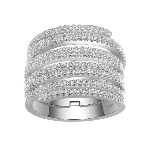 925 Sterling Silver Nine Rows CZ Fashion Stackable Statement Ring