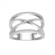 925 Sterling Silver Clear CZ Crossover X Statement Ring