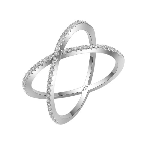 925 Sterling Silver Clear CZ Circle X Statement Ring
