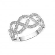 925 Sterling Silver Clear CZ Woven Statement Ring
