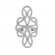 925 Sterling Silver CZ Floral Flower Swirl Statement Ring
