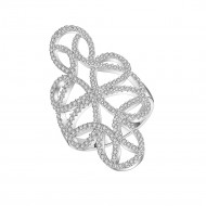925 Sterling Silver CZ Floral Flower Swirl Statement Ring