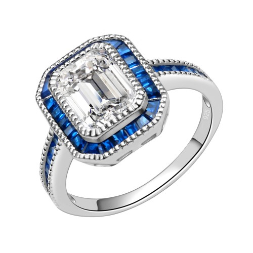925 Sterling Silver with Blue Spinel CZ Rectangle Engagement Ring