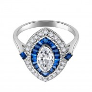 925 Sterling Silver with Blue Spinel CZ Oval Engagement Ring