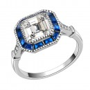 925 Sterling Silver with Blue Spinel CZ Square Engagement Ring