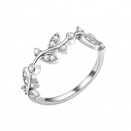 925 Sterling Silver Curved Olive Branch with Clear Cubic Zirconia Stones Wedding Band Promise Ring for Women Size 5-10
