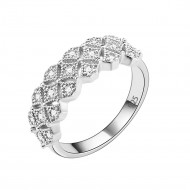 925 Sterling Silver with Clear Cubic Zirconia Stones Wedding Band Promise Ring for Women