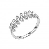 925 Sterling Silver Olive Branch with Clear Cubic Zirconia Stones Wedding Band Promise Ring for Women