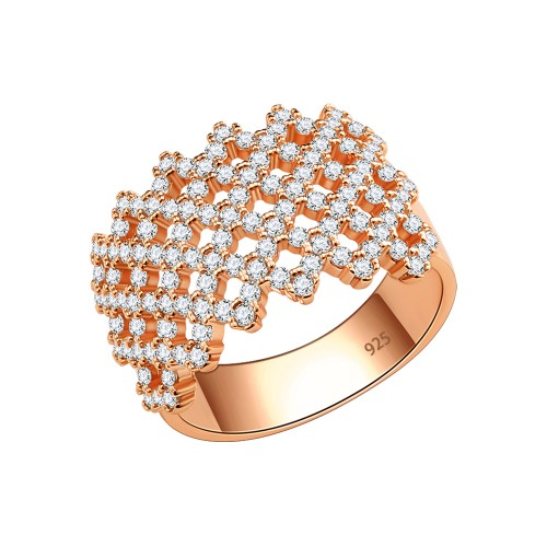 925 Sterling Silver Cross Design with Clear Cubic Zirconia Stones Wide Wedding Band Ring for Women