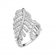 925 Sterling Silver Elegant Leaf Branch with Clear Cubic Zirconia Stones Wedding Ring Promise Ring for Women