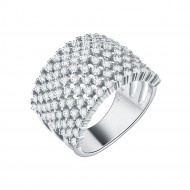 925 Sterling Silver with 9 Rows AAA CZ Stones Statement Rings for Women