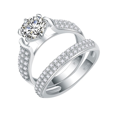 925 Sterling Silver Rhodium Plated with Round AAA Cubic Zirconia Bridal Ring 2 Pieces Sets for Women