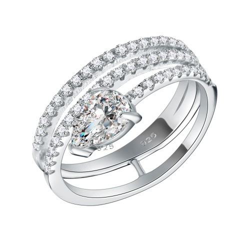 925 Sterling Silver with Pear AAA CZ Stone 3 Lines Bridal Rings for Women