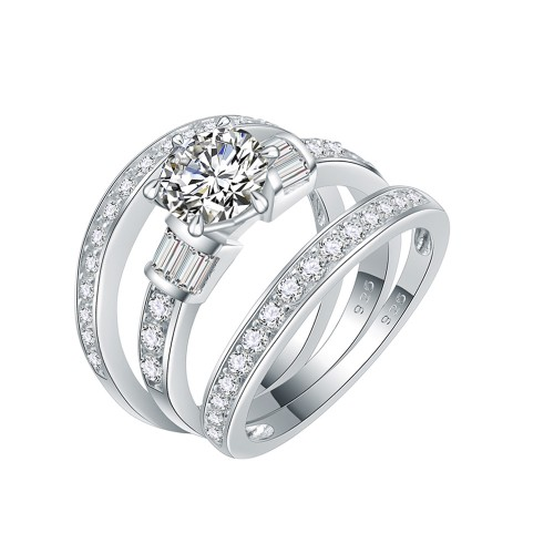925 Sterling Silver with AAA Cubic Zirconia Cubic Zirconia 3 Pieces Engagement Ring Sets for Women