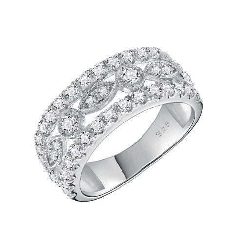 925 Sterling Silver Rhodium Plated with AAA CZ Stones Vintage Rings for Women