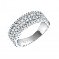 925 Sterling Silver with AAA Cubic Zirconia Wedding Band for Women