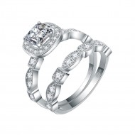 925 Sterling Silver with Cushion Cut AAA Cubic Zirconia Stones Bridal Vintage Ring 2 Pieces Sets for Women