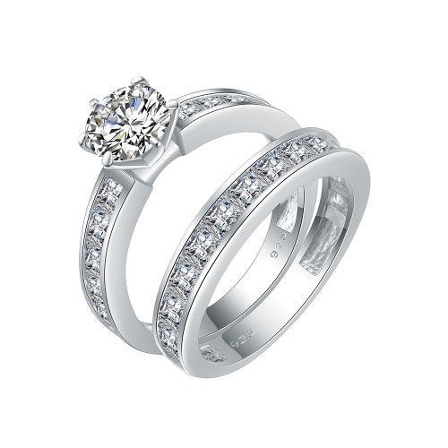 925 Sterling Silver with Round AAA CZ Bridal Ring 2 Pieces Sets for Women