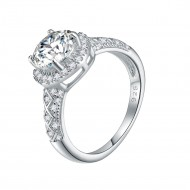 925 Sterling Silver Rhodium Plated with Round AAA CZ Engagement Rings for Women