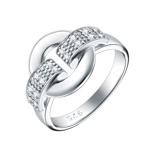 925 Sterling Silver Rhodium Plated with Cubic Zirconia Stones Modern Design Rings for Women