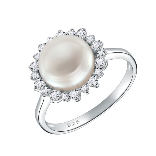 925 Sterling Silver Rhodium Plated with Fresh Water Pearl Rings for Women