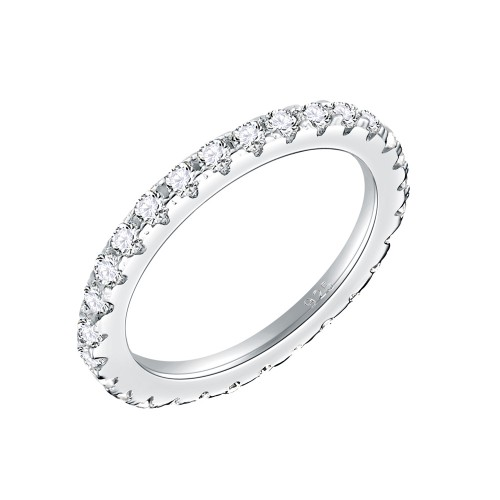 925 Sterling Silver Rhodium Plated with AAA Cubic Zirconia Stones Eternity Band Ring for Women