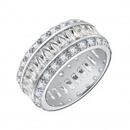 925 Sterling Silver Rhodium Plated with AAA CZ Stones Wedding Band Ring for Women