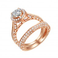 925 Sterling Silver Rose Gold Plated with Round Cut AAA Cubic Zirconia Stones Bridal Ring 2 Pieces Sets for Women