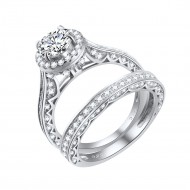 925 Sterling Silver Rhodium Plated with Round Cut AAA Cubic Zirconia Stones Bridal Ring 2 Pieces Sets for Women