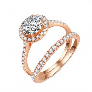 925 Sterling Silver Rose Gold Plated with Round AAA Cubic Zirconia Stones Bridal Ring 2 Pieces Sets Ring for Women