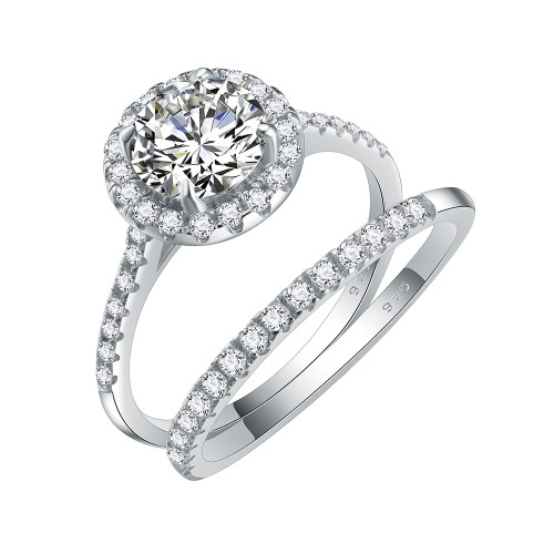 925 Sterling Silver Rhodium Plated with Round AAA Cubic Zirconia Stones Bridal Ring 2 Pieces Sets Ring for Women