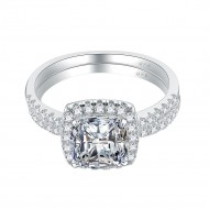 925 Sterling Silver Rhodium Plated with Cushion Cut AAA Cubic Zirconia Bridal Ring 2 Pieces Sets for Women