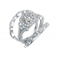 925 Sterling Silver Rhodium Plated Ring with Round AAA Cubic Zirconia 3 Pieces Vintage Bridal Ring Sets for Women